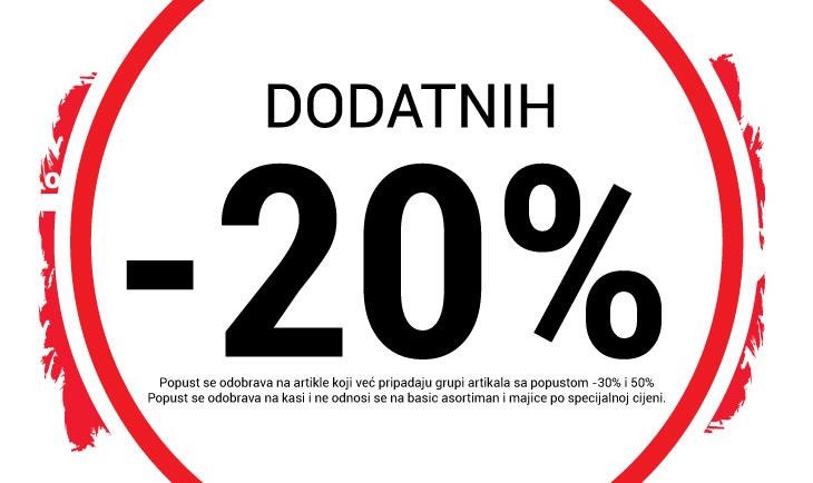 -20% popusta na određene artikle