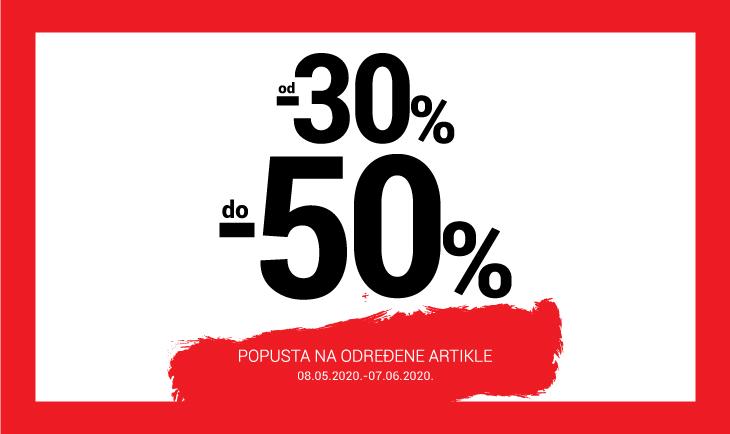 od -30% do -50% na određene artikle