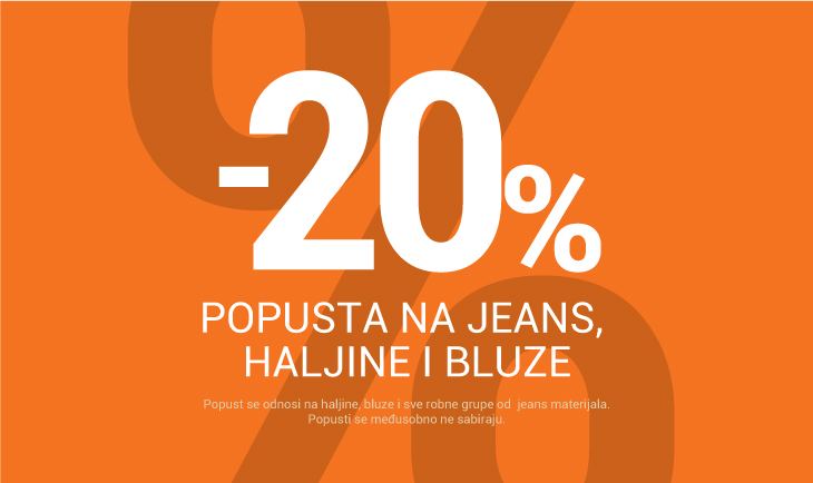 -20% na jeans, haljine i bluze