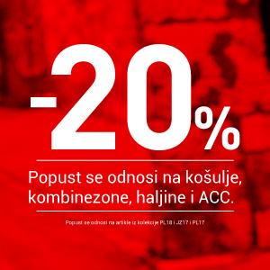 -20% popusta na određene grupe proizvoda