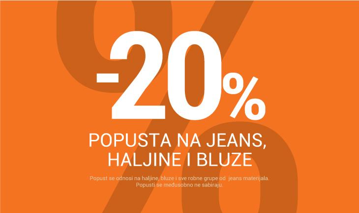 -20% na haljine, bluze i jeans