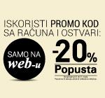 Promo kod -20% popusta - SAMO NA WEB-u