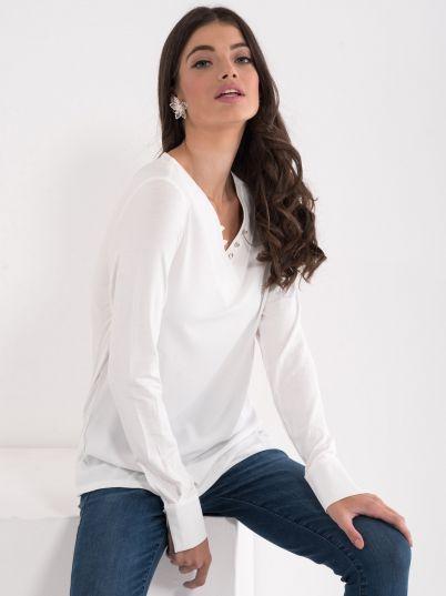 Bluza na V izrez sa dugmićima