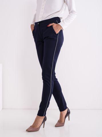 Priložnostne »smart« hlače temnomodre barve