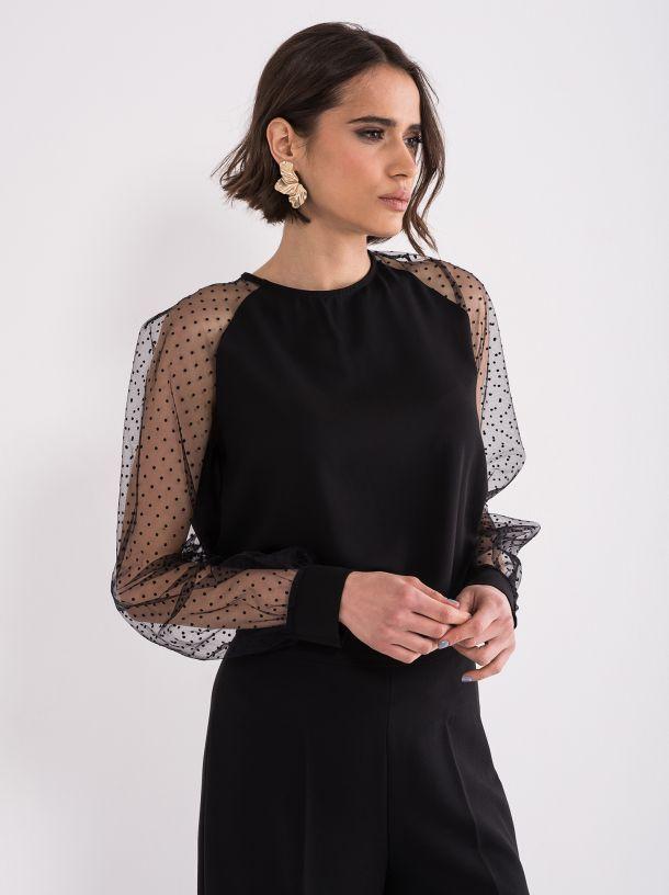Elegantna bluza sa providnim rukavima
