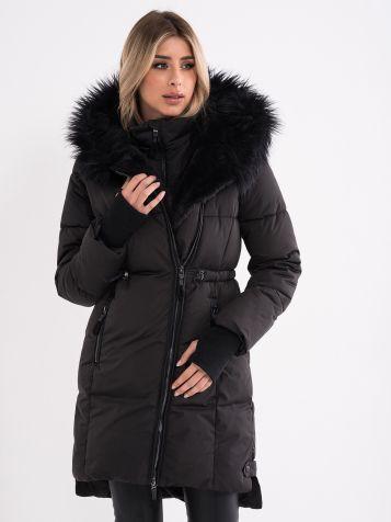 Zimska jakna sa kapuljačom i krznom