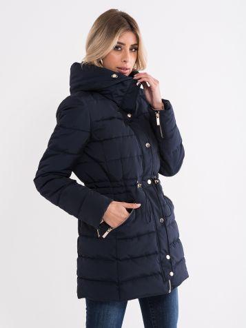 Ženska jakna z okrasnimi šivi temnomodre barve