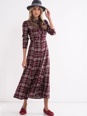 Maxi karirana obleka