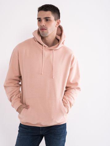 Moški pulover s kapuco, roza