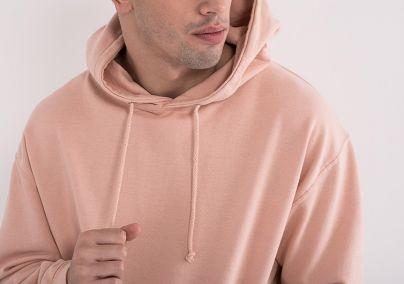 Muški duks sa kapuljačom roze