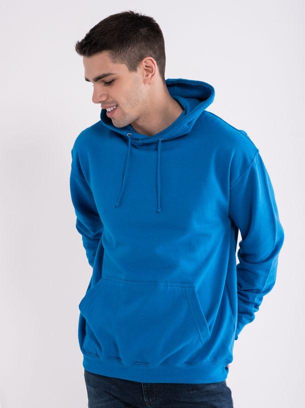 Muški duks sa kapuljačom plavi