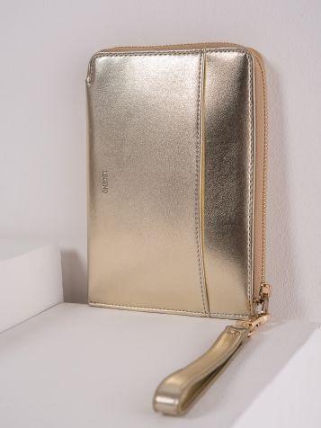 Ženska toaletna torbica v zlati barvi