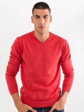 Basic džemper V izreza koralni