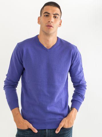 Basic jopica z V izrezom vijolične barve