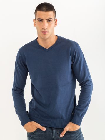 Basic jopica z V izrezom modre barve