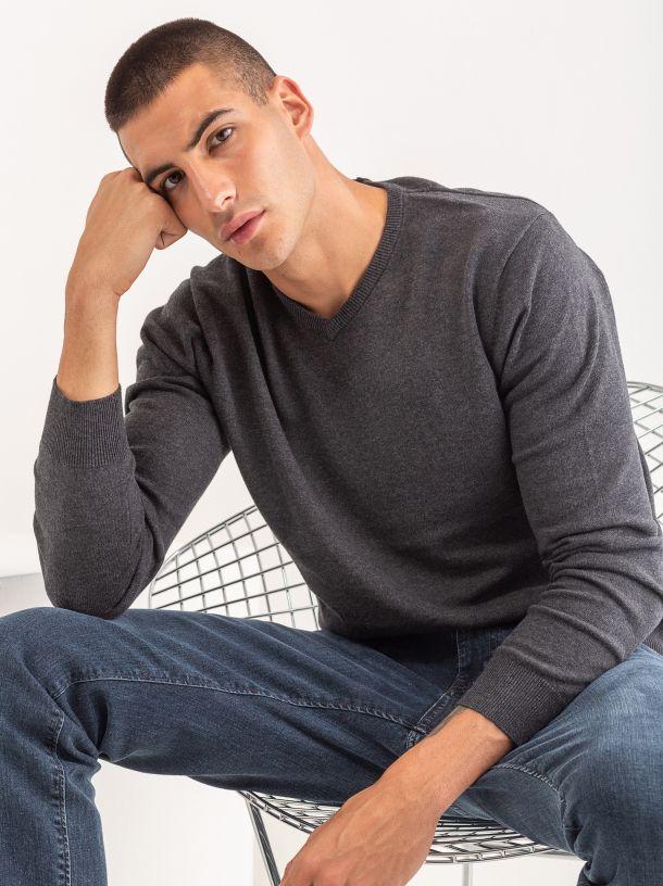 Basic džemper na V izrez sivi