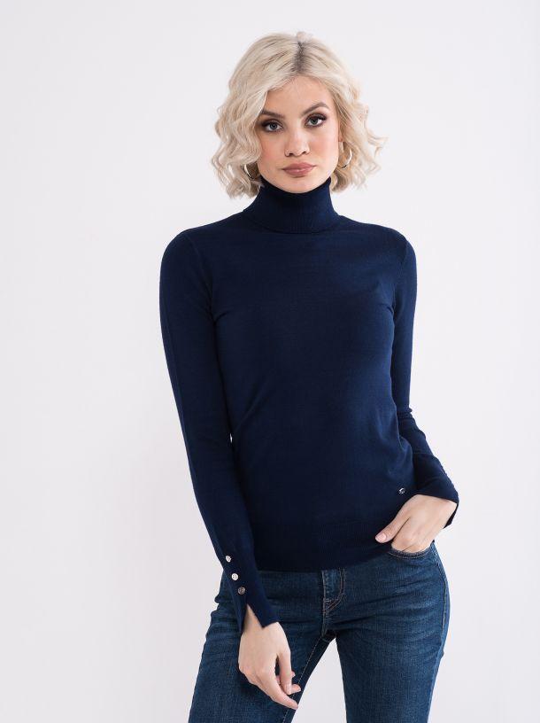 Džemper sa rolkom teget