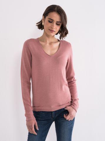 Ženski džemper V izreza puder roze