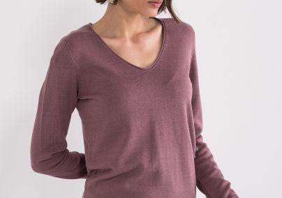 Ženski džemper V izreza ljubičasti