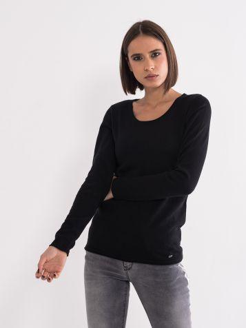 Ženski džemper otvorenog izreza teget
