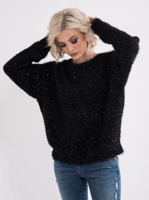 Čupavi džemper sa šljokicama