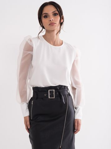 Bluza s prozornimi puhastimi rokavi