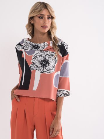 Bluza s cvetnim vzorcem
