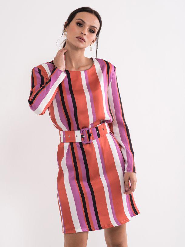 Elegantna prugasta haljina