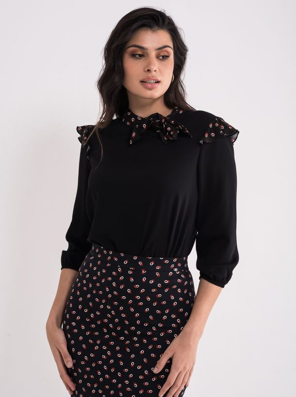Elegantna crna bluza