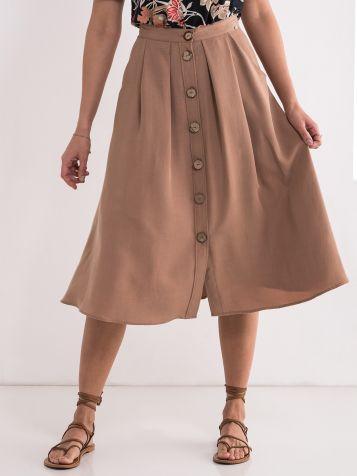 Svetlo braon midi suknja