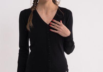 Džemper sa dugmićima crni