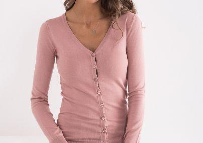 Džemper sa dugmićima roze